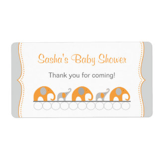 Orange Elephants Baby Shower Water bottle favor