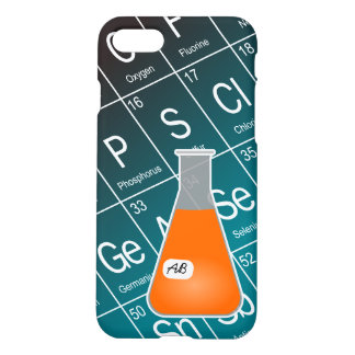 Orange Erlenmeyer Flask (with Initials) Chemistry iPhone 7 Case