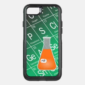 Orange Erlenmeyer Flask (with Initials) Chemistry OtterBox Commuter iPhone 8/7 Case