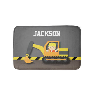 Orange Excavator Construction Boys Room Decor Bath Mat
