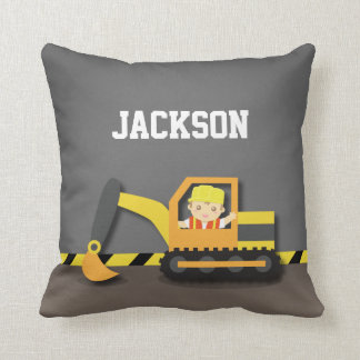 Orange Excavator Construction Boys Room Decor Cushion