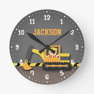 Orange Excavator Construction Boys Room Decor Wallclock