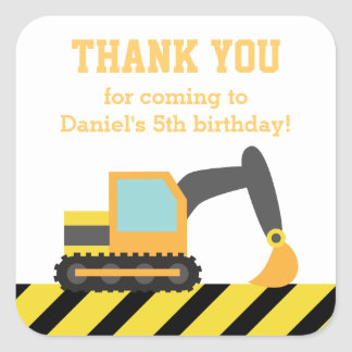 Orange Excavator Construction Kids Party Birthday Square Sticker