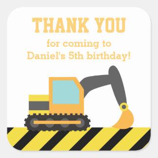 Orange Excavator Construction Kids Party Birthday Square Sticker