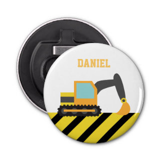 Orange Excavator Construction Theme For Kids Bottle Opener
