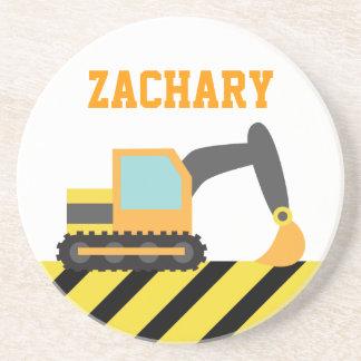 Orange Excavator, Construction Vehicle, For kids Beverage Coasters