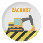 Orange Excavator, Construction Vehicle, For kids Plate