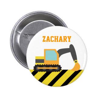 Orange Excavator, Construction Vehicles, for Kids 6 Cm Round Badge