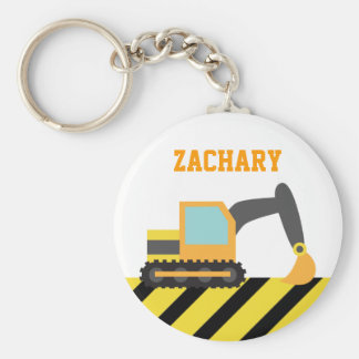 Orange Excavator, Construction Vehicles, for Kids Basic Round Button Key Ring