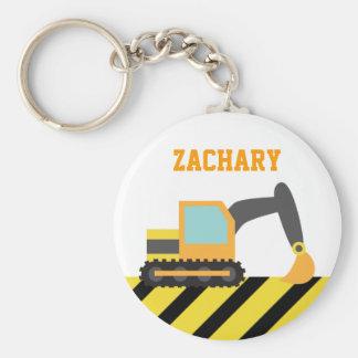 Orange Excavator, Construction Vehicles, for Kids Key Ring