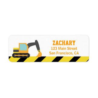 Orange Excavator, Construction Vehicles, for Kids Return Address Label