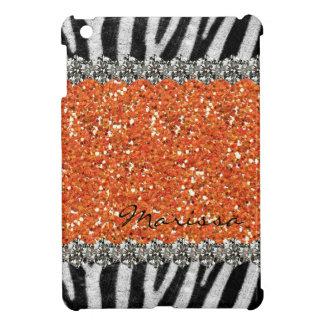 Orange Exotic Zebra Stripes Personalized iPad Mini Case