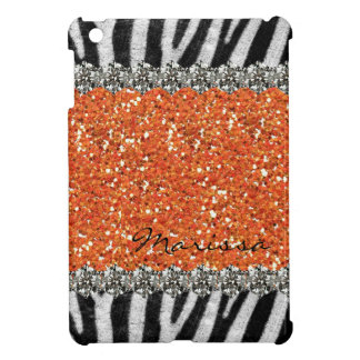Orange Exotic Zebra Stripes Personalized iPad Mini Covers