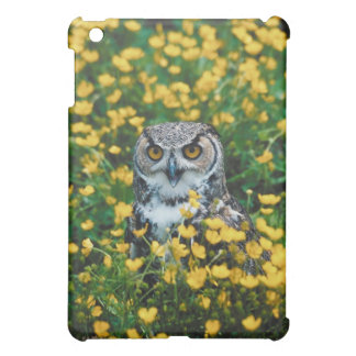 Orange Eyed Owl in Meadow of Flowers Cover For The iPad Mini