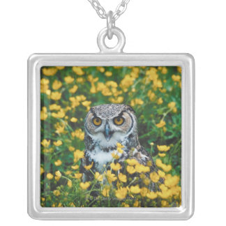 Orange Eyed Owl in Meadow of Flowers Necklaces