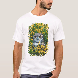 Orange Eyed Owl in Meadow of Flowers T-Shirt