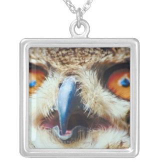 Orange Eyed Owl Silver Plated Necklace