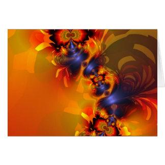 Orange Eyes Aglow – Gold & Violet Delight Greeting Card