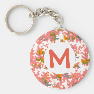 Orange Fall Colored Leaves Pattern Add Your Name Basic Round Button Key Ring