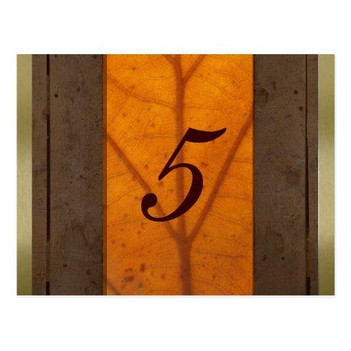 Orange Fall Leaf, Wood Planks Table Number Card Postcard