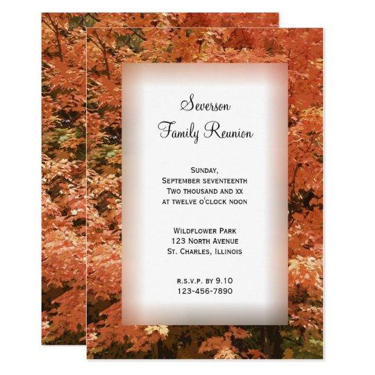 Orange Fall Leaves Family Reunion Invitation