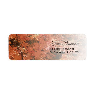 Orange Fall Leaves Return Address Return Address Label