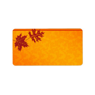 Orange Fall Leaves Wedding Blank Address Labels