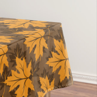Orange fall maple leaves brown autumn home décor tablecloth