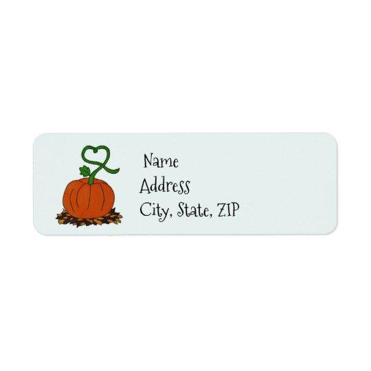Orange Fall Pumpkin Halloween Thanksgiving Address Return Address