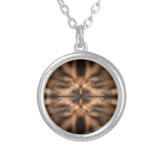 Orange fantasy organic pattern silver plated necklace