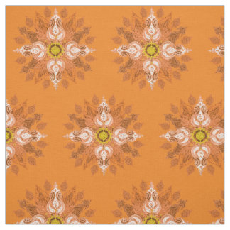 Orange fire paisley oriental pattern fabric