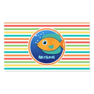 Orange Fish Bright Rainbow Stripes Business Cards