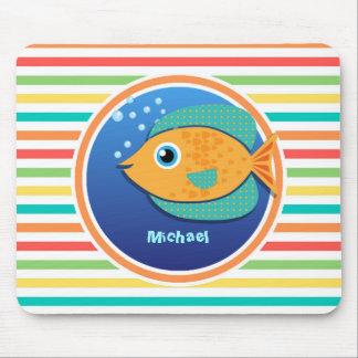 Orange Fish Bright Rainbow Stripes Mousepad