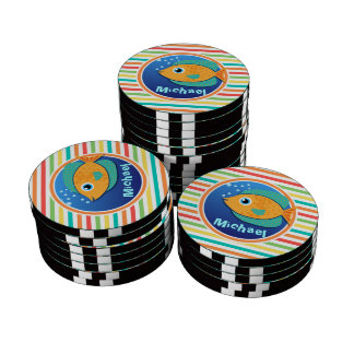 Orange Fish; Bright Rainbow Stripes Poker Chip Set