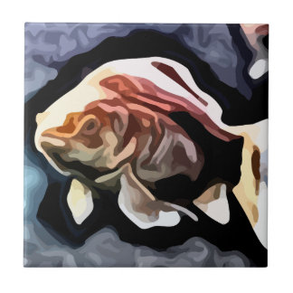 orange fish deep swimming painting small square tile
