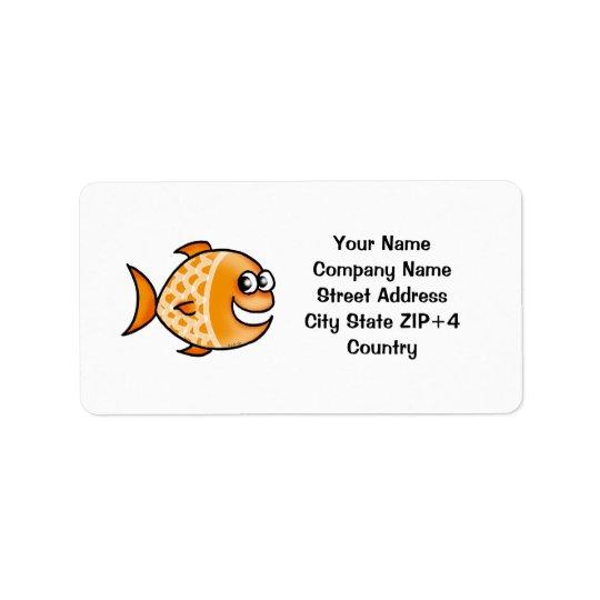 Orange fish return address address label