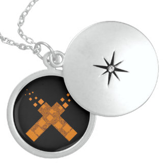 Orange flame death cult cross fire torch Halloween Personalized Necklace