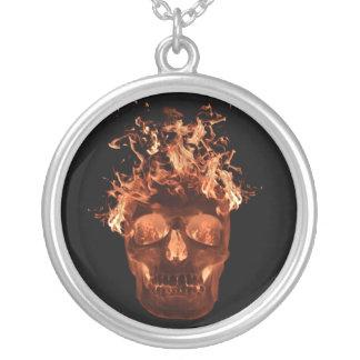 Orange Flaming Skull Necklace