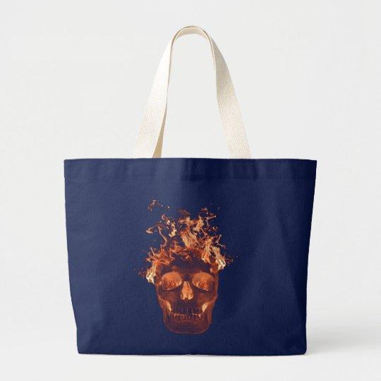 Orange Flaming Skull Tote Bag