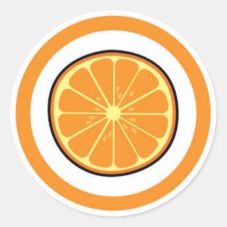 Orange flavor visual circle sticker labels