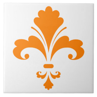Orange Fleur de lis Large Square Tile
