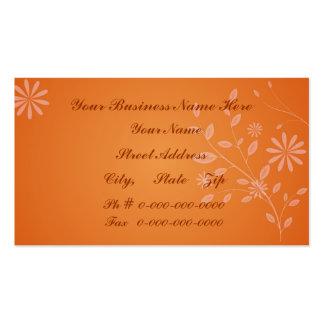 Orange Floral Pack Of Standard Business Cards
