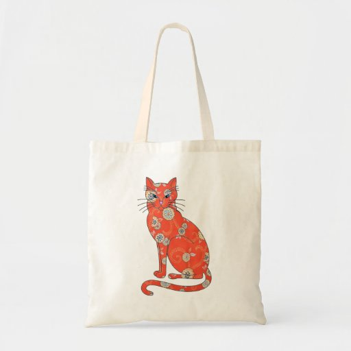 Orange Floral Cat Tote Bag