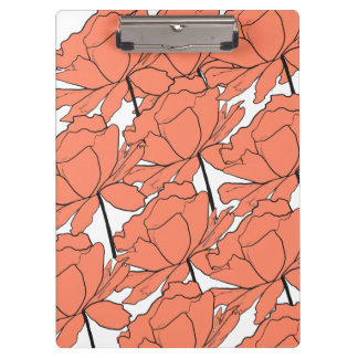 Orange Floral Clipboard
