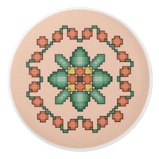 Orange Floral Cross Stitch Quilt Square Ceramic Knob