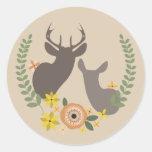 Orange Floral Deer Sticker