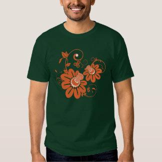 Orange floral design illustration t shirts