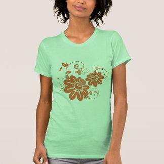 Orange floral design illustration t-shirt