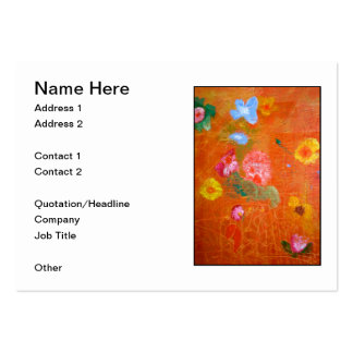 Orange Floral Design. Pack Of Chubby Business Cards
