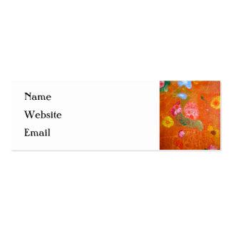 Orange Floral Design. Pack Of Skinny Business Cards